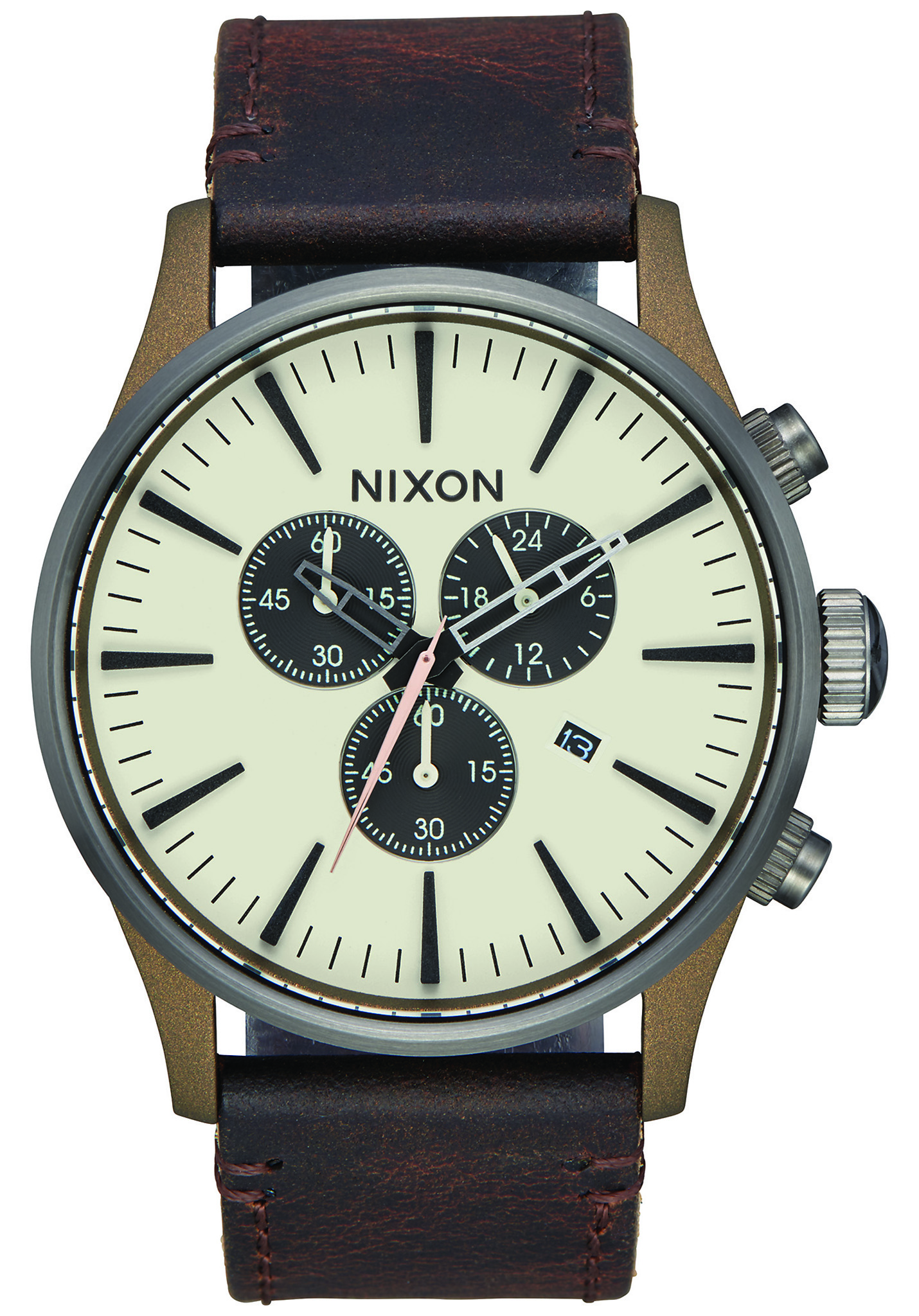 nixon sentry chrono lthr herren uhr accessoire schmuck. Black Bedroom Furniture Sets. Home Design Ideas