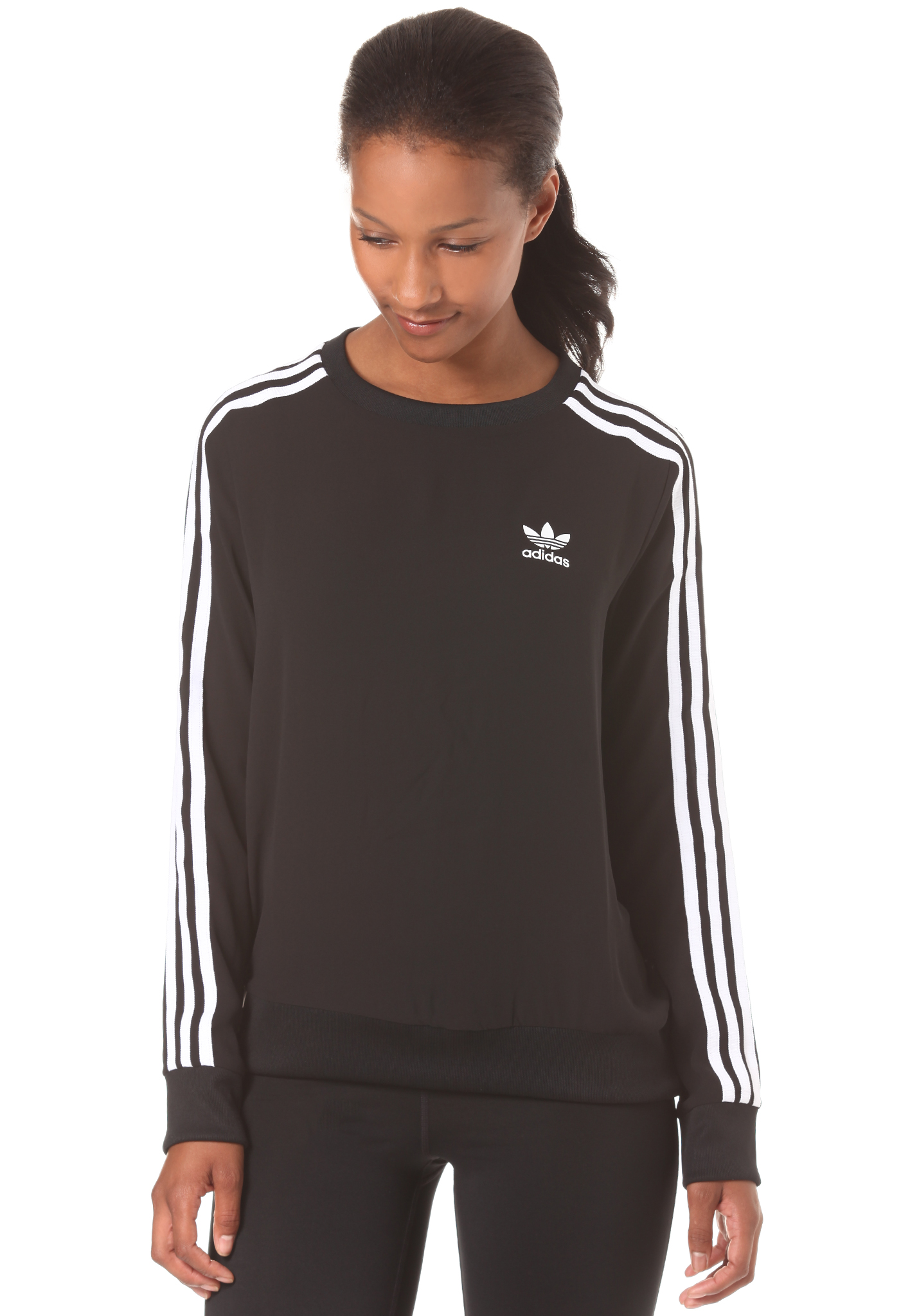 adidas 3 stripes damen sweatshirt ebay. Black Bedroom Furniture Sets. Home Design Ideas