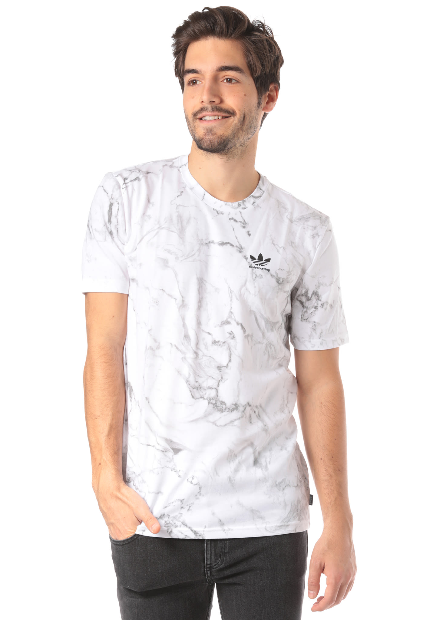 Adidas Marble T Homme 2 Pour 0 Blanc Skateboarding Shirt SPO4a