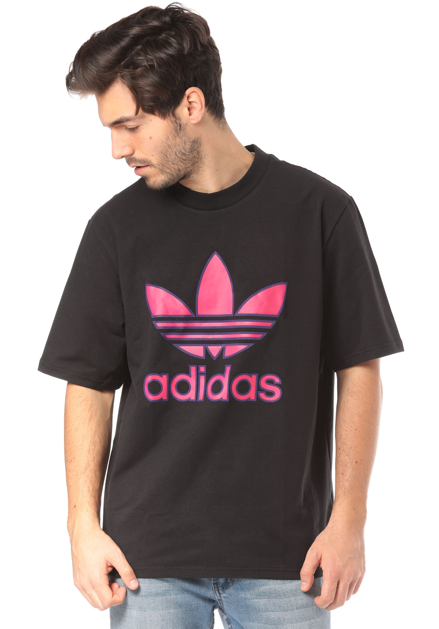 Adidas Shirt Black Originals For T Trefoil Men nPwOk80