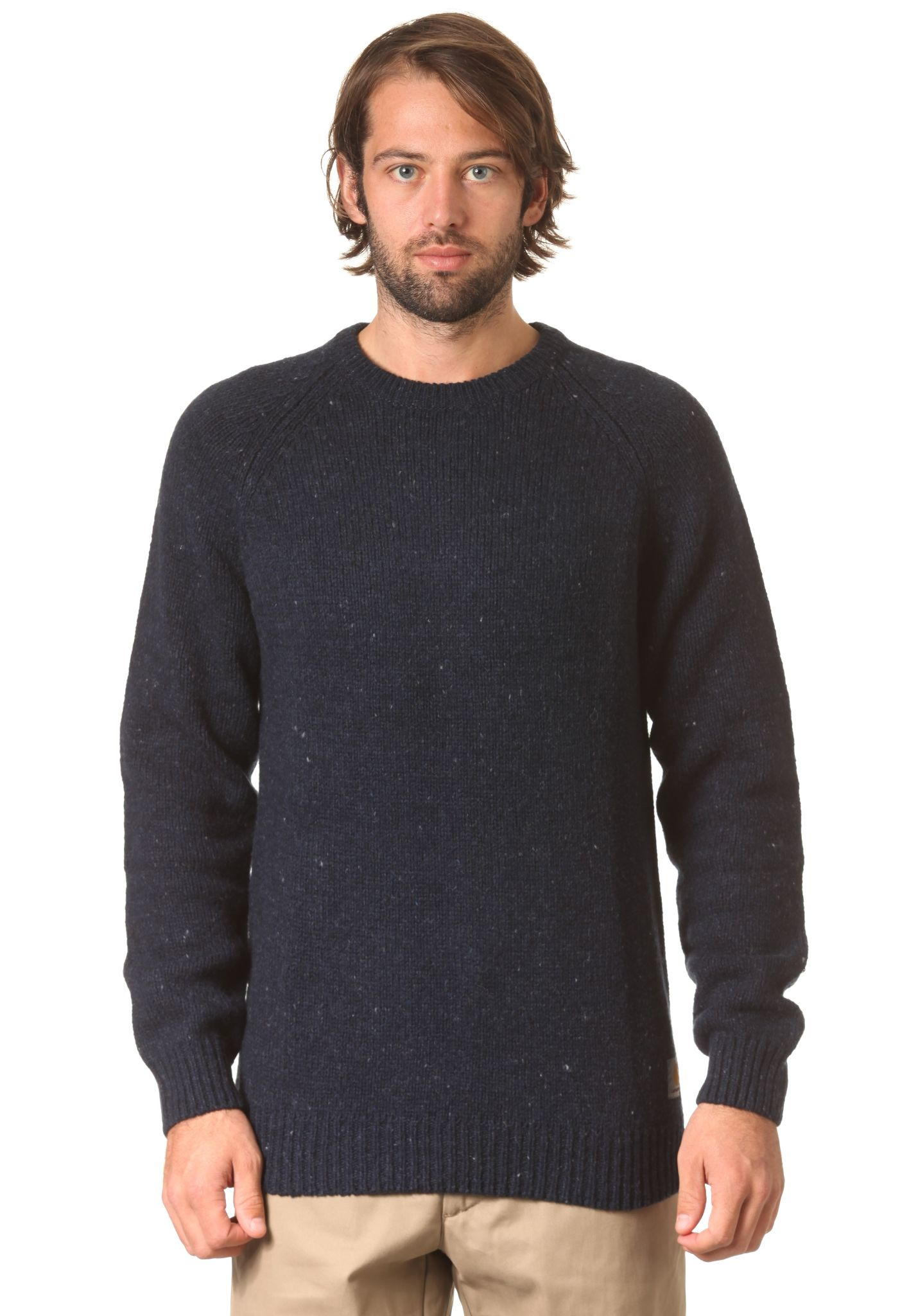 0088315b188 carhartt WIP Anglistic - Knitted Pullover - Blue - Planet Sports