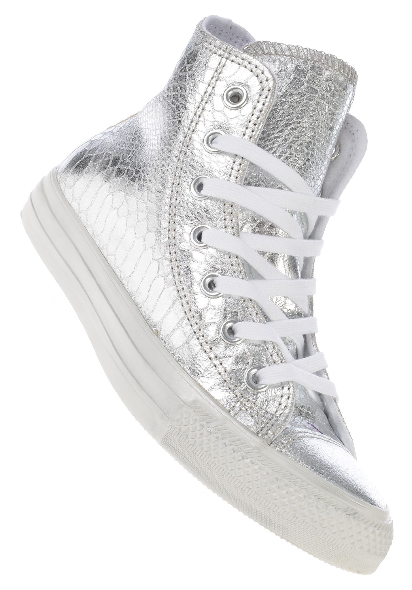 99b1fd9f8aed7 Converse Chuck Taylor All Star Hi Glam Suede - Sneakers für Damen - Silber  - Planet Sports