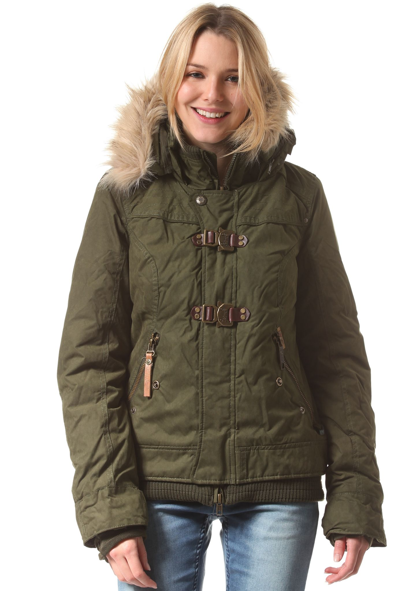 Khujo ashley jacke damen olive