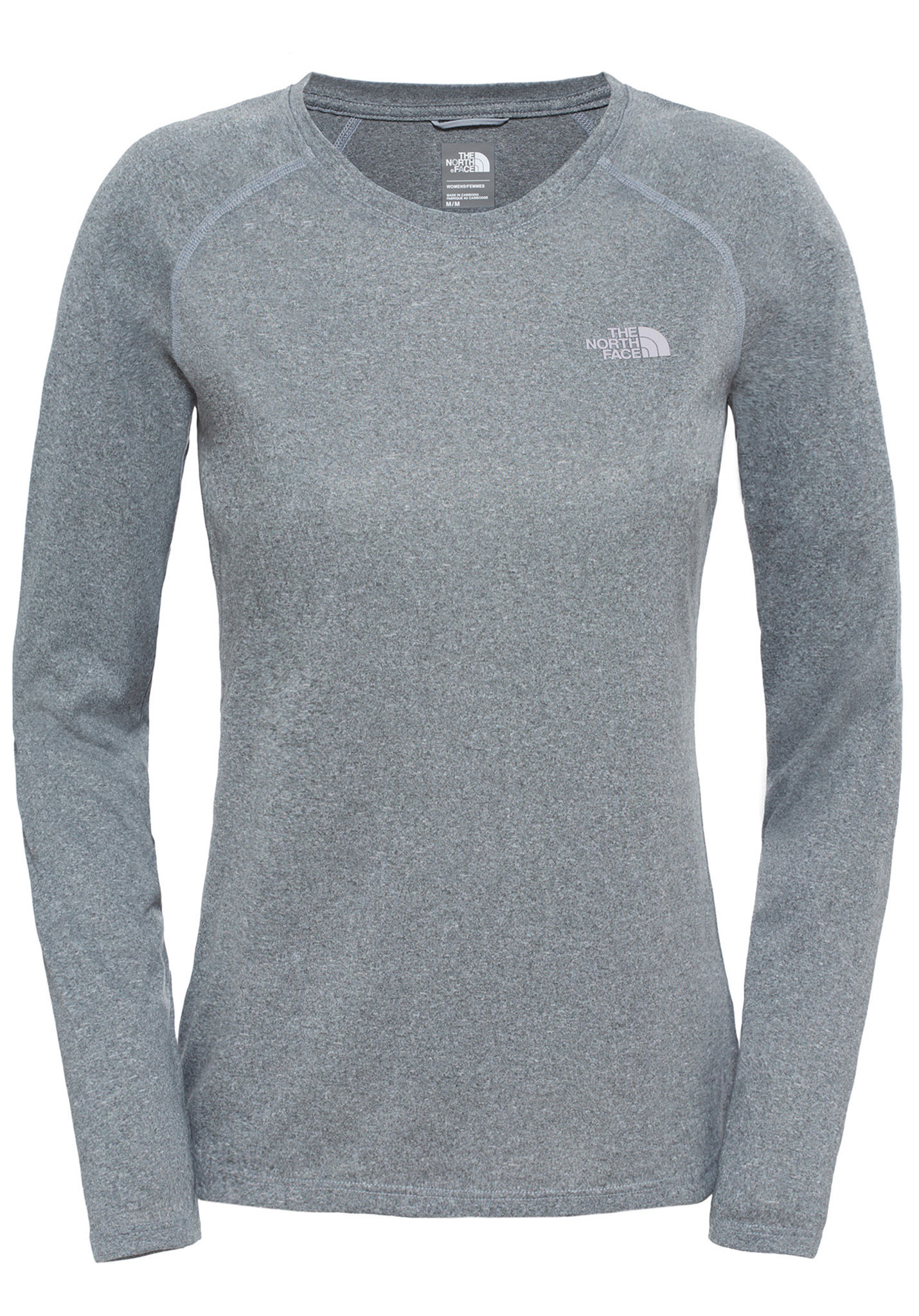 7385b3c5fea5 THE NORTH FACE Reaxion Amp Crew - Long-sleeved Shirt for Women - Grey -  Planet Sports