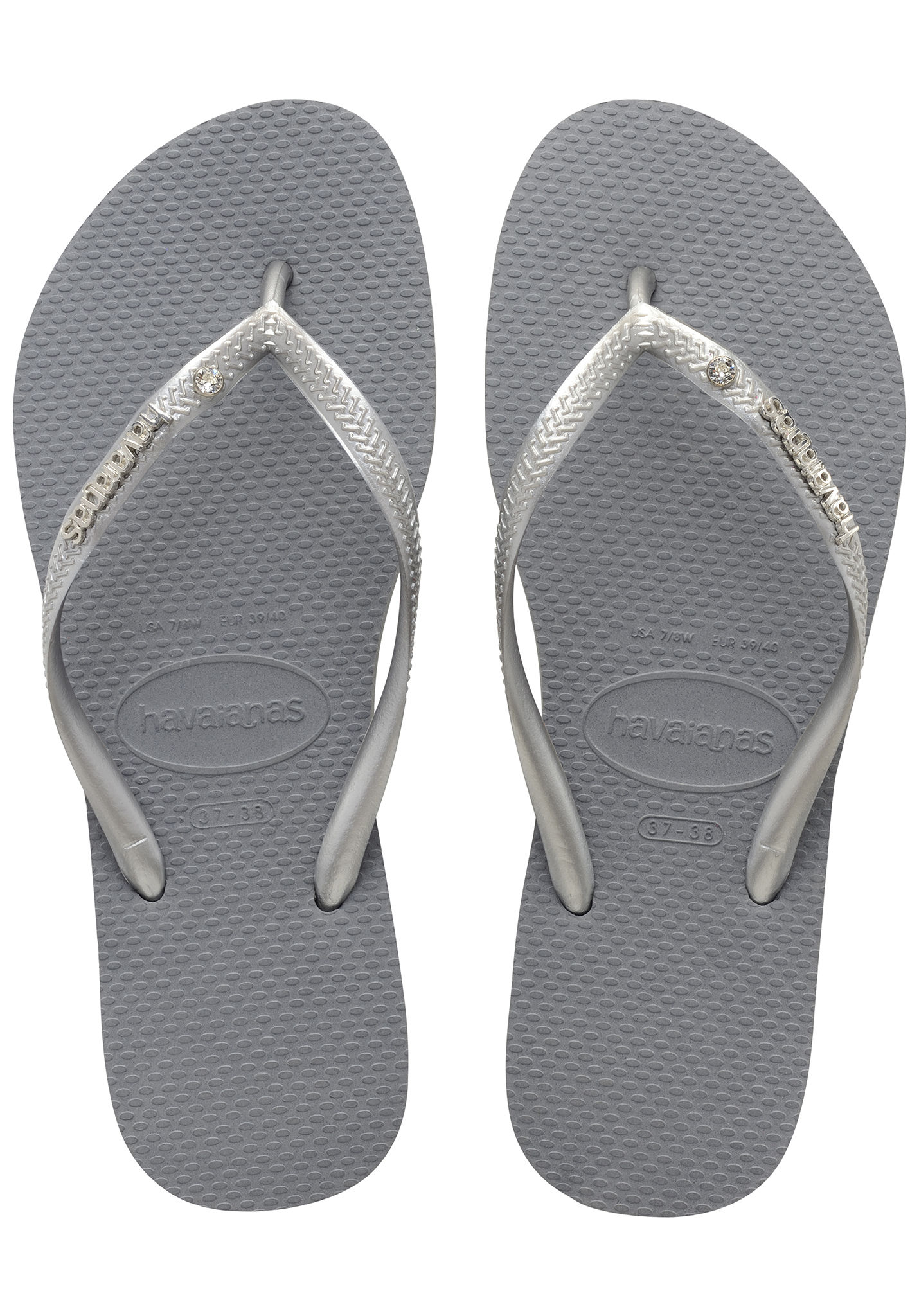 4d64c69e0 HAVAIANAS Slim Metal Logo and Crystal - Sandals for Women - Grey - Planet  Sports