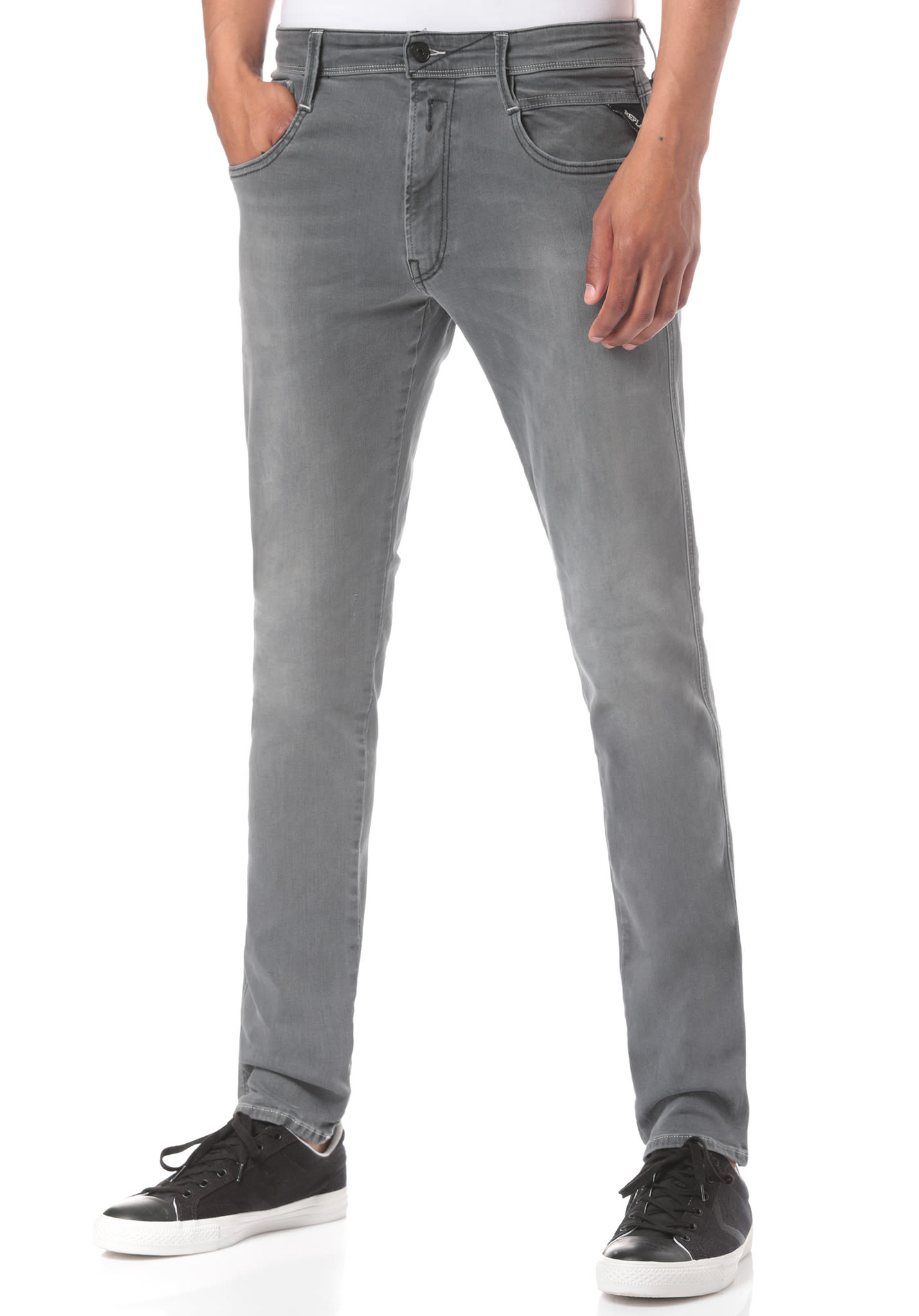 fd8115bbb07ea3 Replay Anbass - Denim Jeans for Men - Grey - Planet Sports