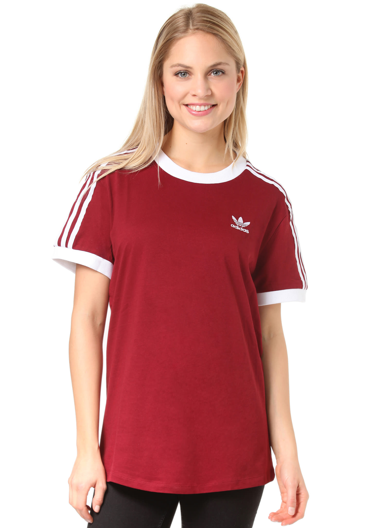 Adidas 3 Stripe Red Womens T Shirt | RLDM