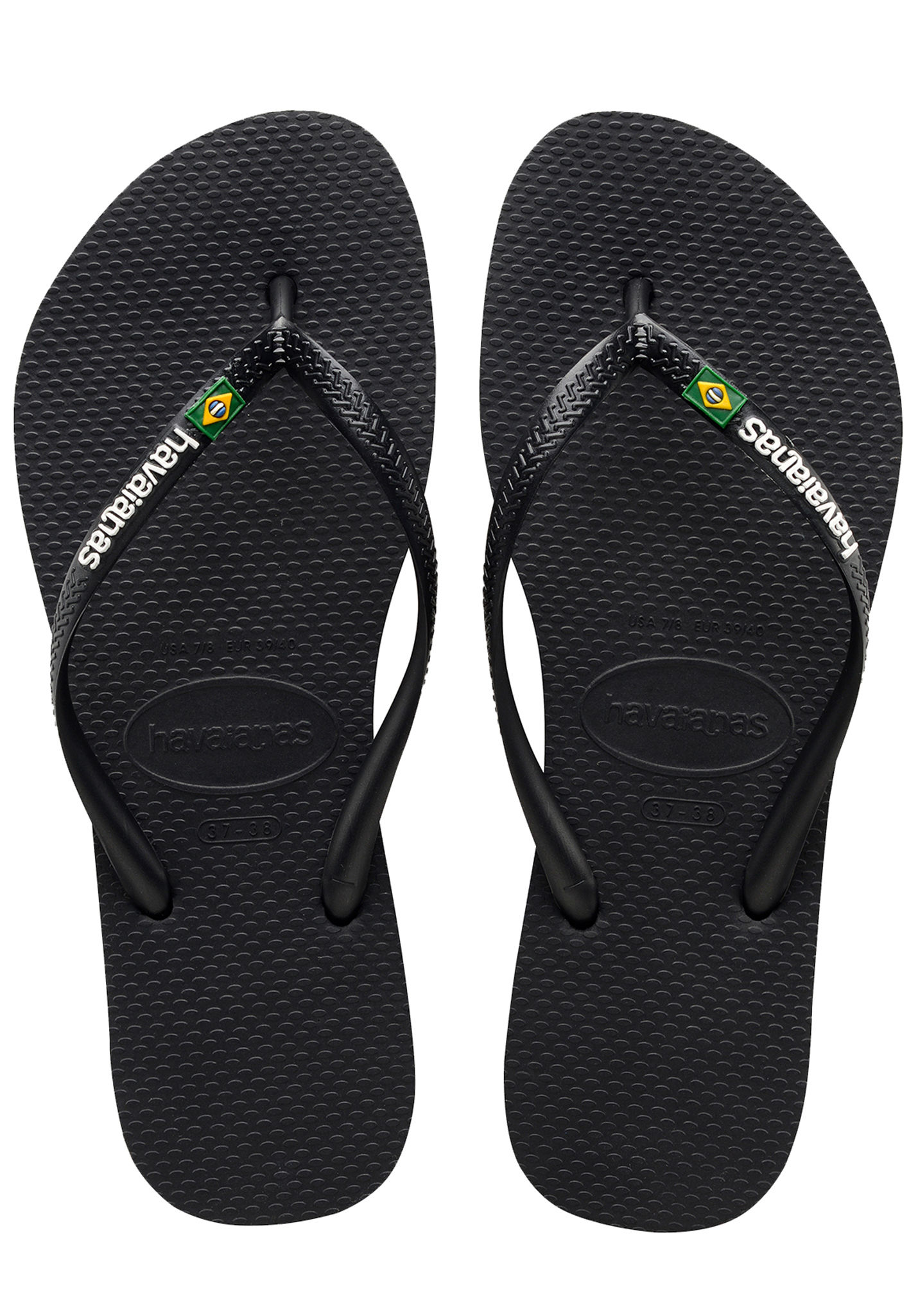 5621aa90cad85 HAVAIANAS Slim Brasil Logo - Sandals for Women - Black - Planet Sports