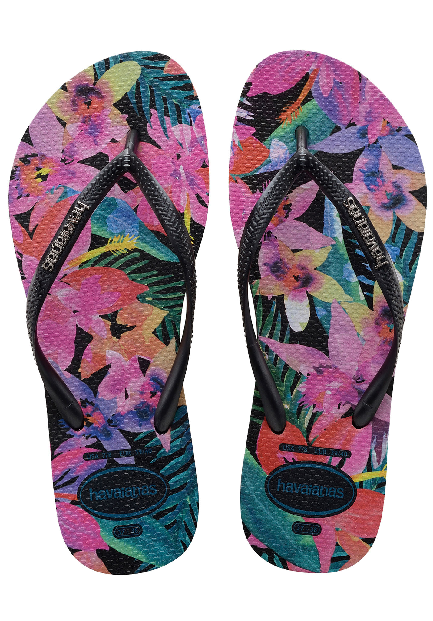 Havaianas Slim Tropical Donna Black Multicolour Gomma Sandali 3738
