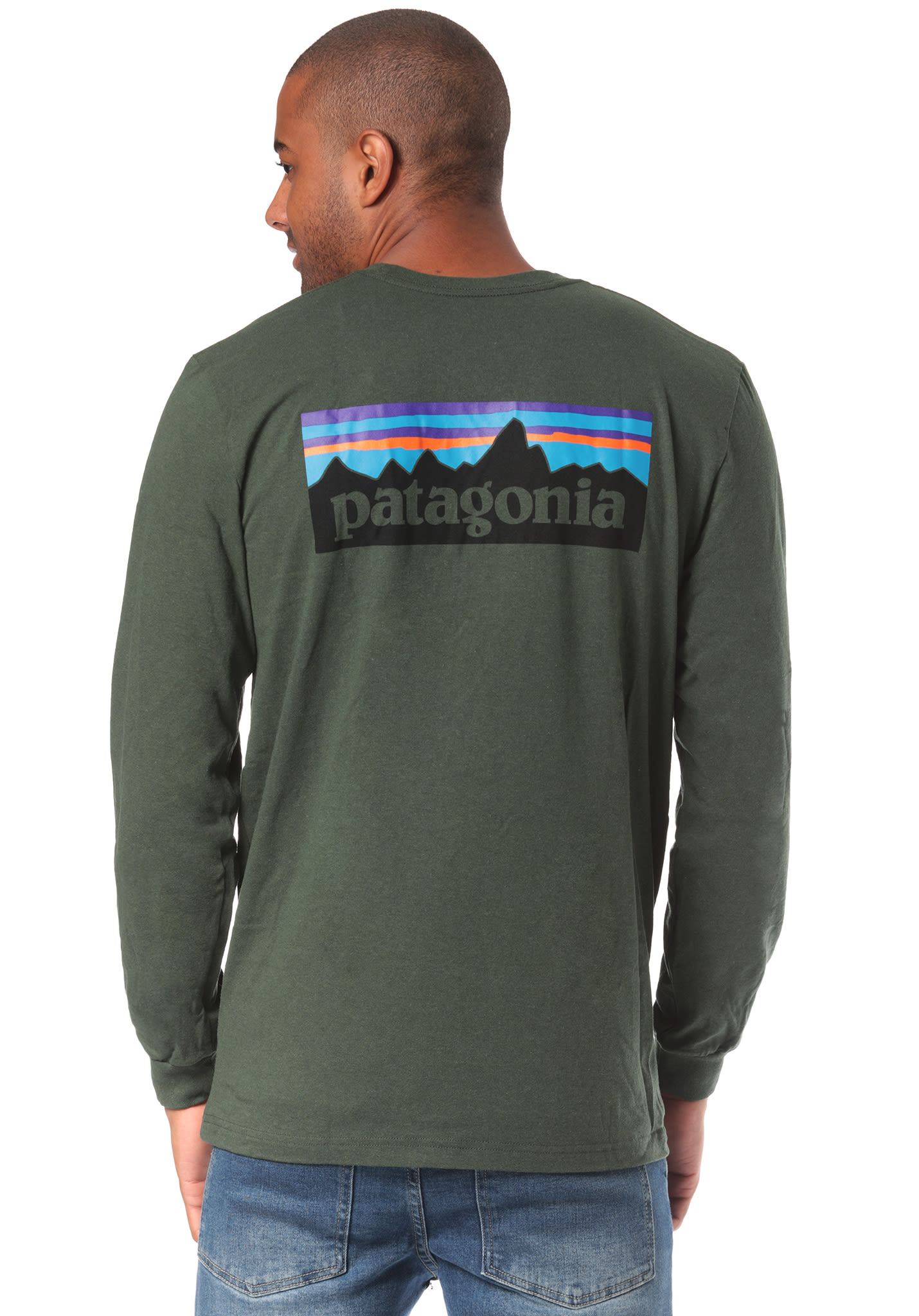 a6025aa0d PATAGONIA P-6 Logo Responsibili-Tee - Long-sleeved Shirt for Men - Green -  Planet Sports