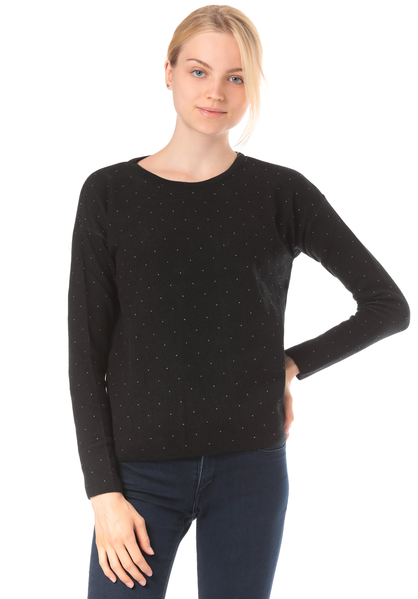253815c0c982 ARMEDANGELS Averie Dots - Strickpullover für Damen - Schwarz - Planet Sports