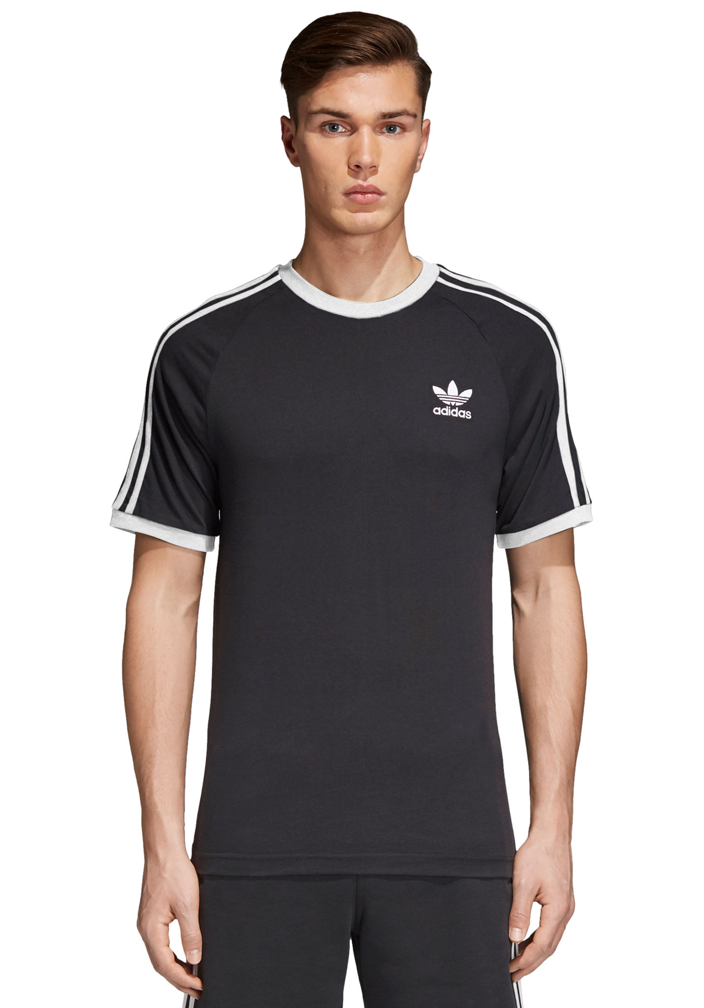 ADIDAS ORIGINALS 3 Stripes T shirt voor Heren Zwart