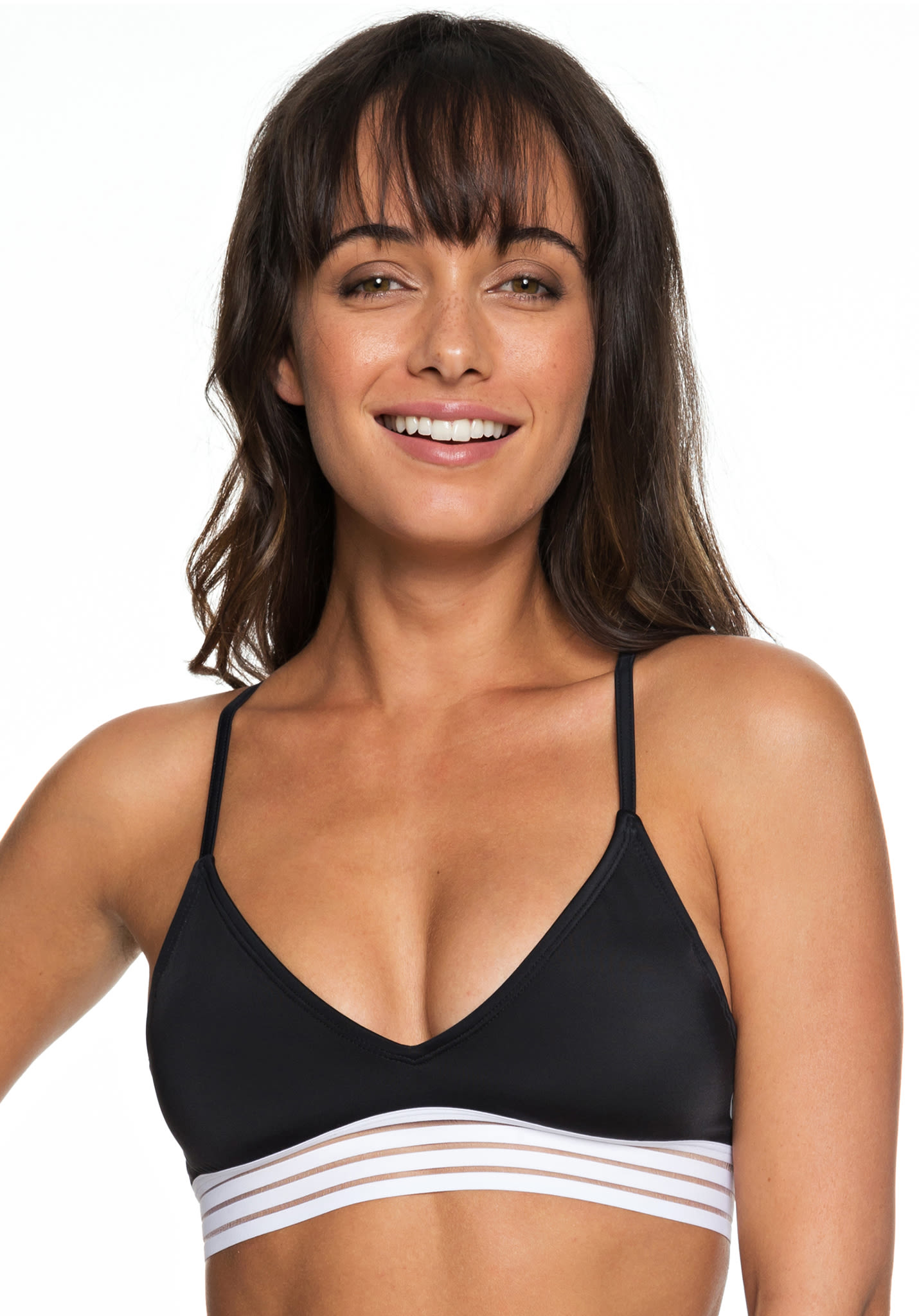 4aed95c068 Roxy Fitness SD Mod Athletic Tri - Bikini Top for Women - Black - Planet  Sports