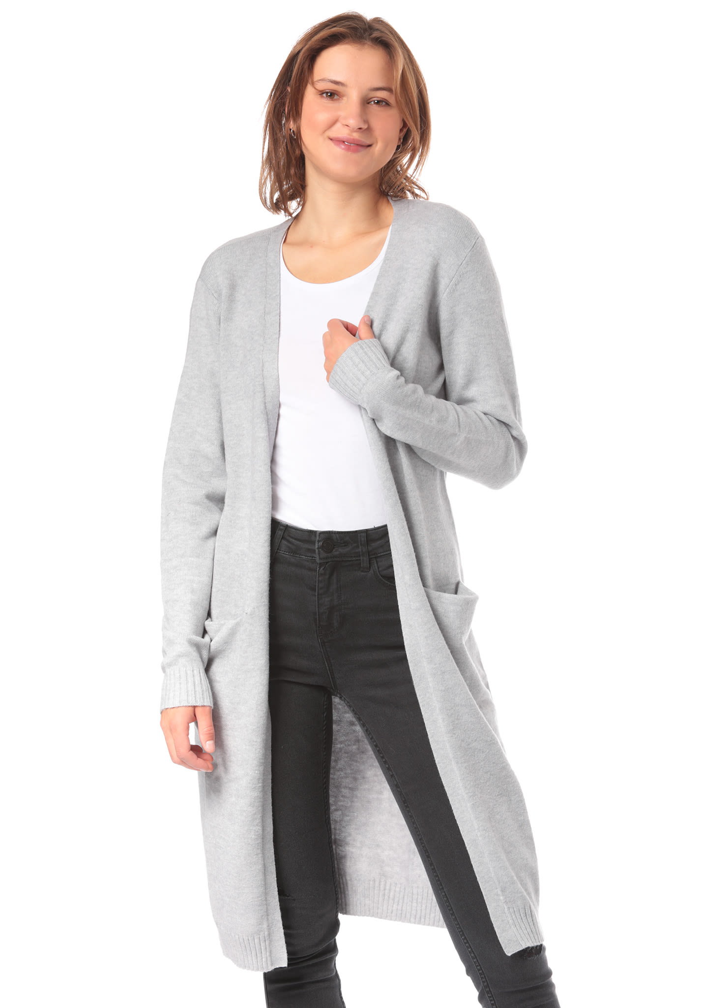 buy popular 2d7f5 20cde Vila Viril L/S Long - Cardigan for Women - Grey