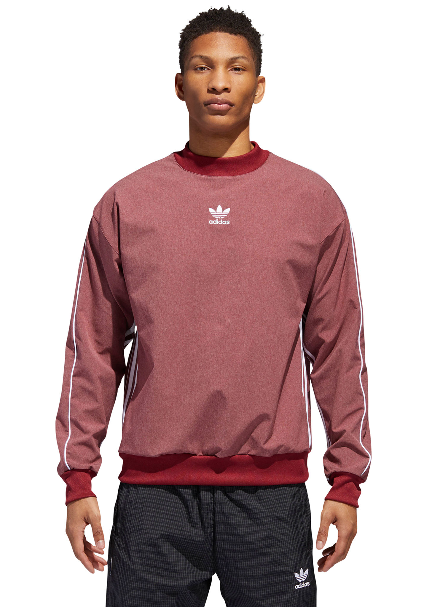 4a6dcbf21fcb ADIDAS ORIGINALS Auth Stripe Crew - Sweatshirt for Men - Red - Planet Sports