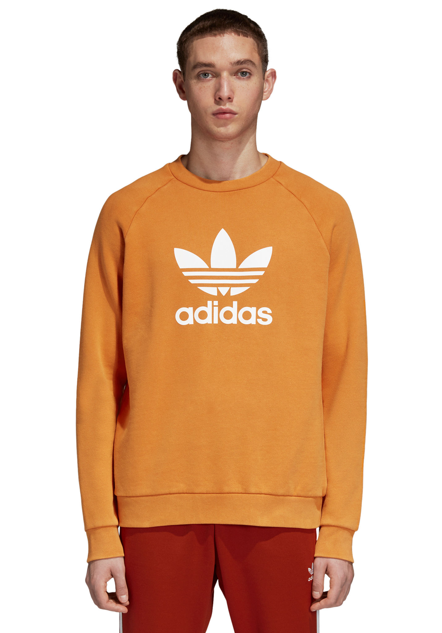 415b9814e4cb5 ADIDAS ORIGINALS Trefoil Crew - Sweat pour Homme - Orange - Planet Sports