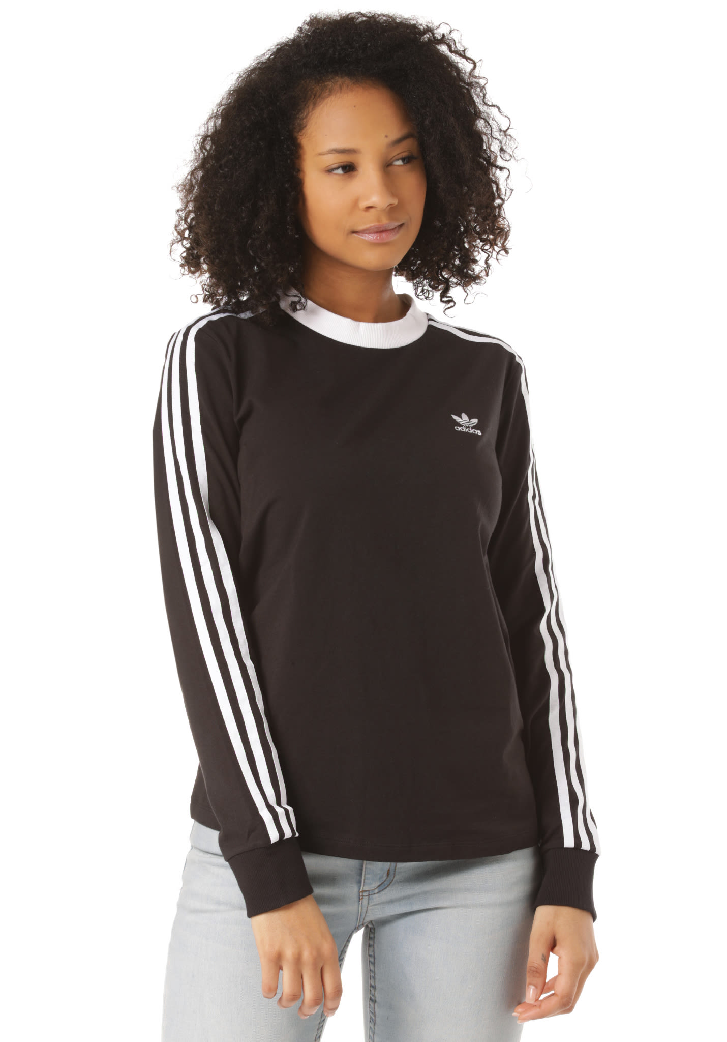 adidas Originals 3 Stripes Langarmshirt für Damen Schwarz