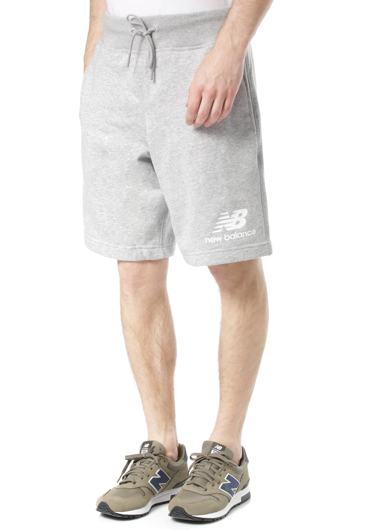 2a86a9be34062 NEW BALANCE Essentials Stacked Logo - Shorts for Men - Grey - Planet Sports