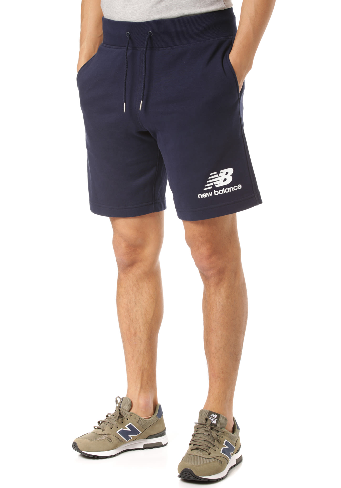 353a505571231 NEW BALANCE Essentials Stacked Logo - Shorts for Men - Blue - Planet Sports