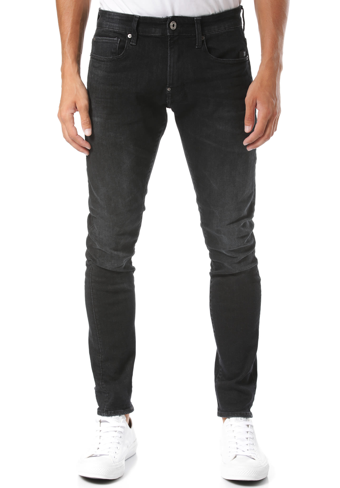 G STAR 3301 Slim Nero Black Stretch Jeans voor Heren Grijs