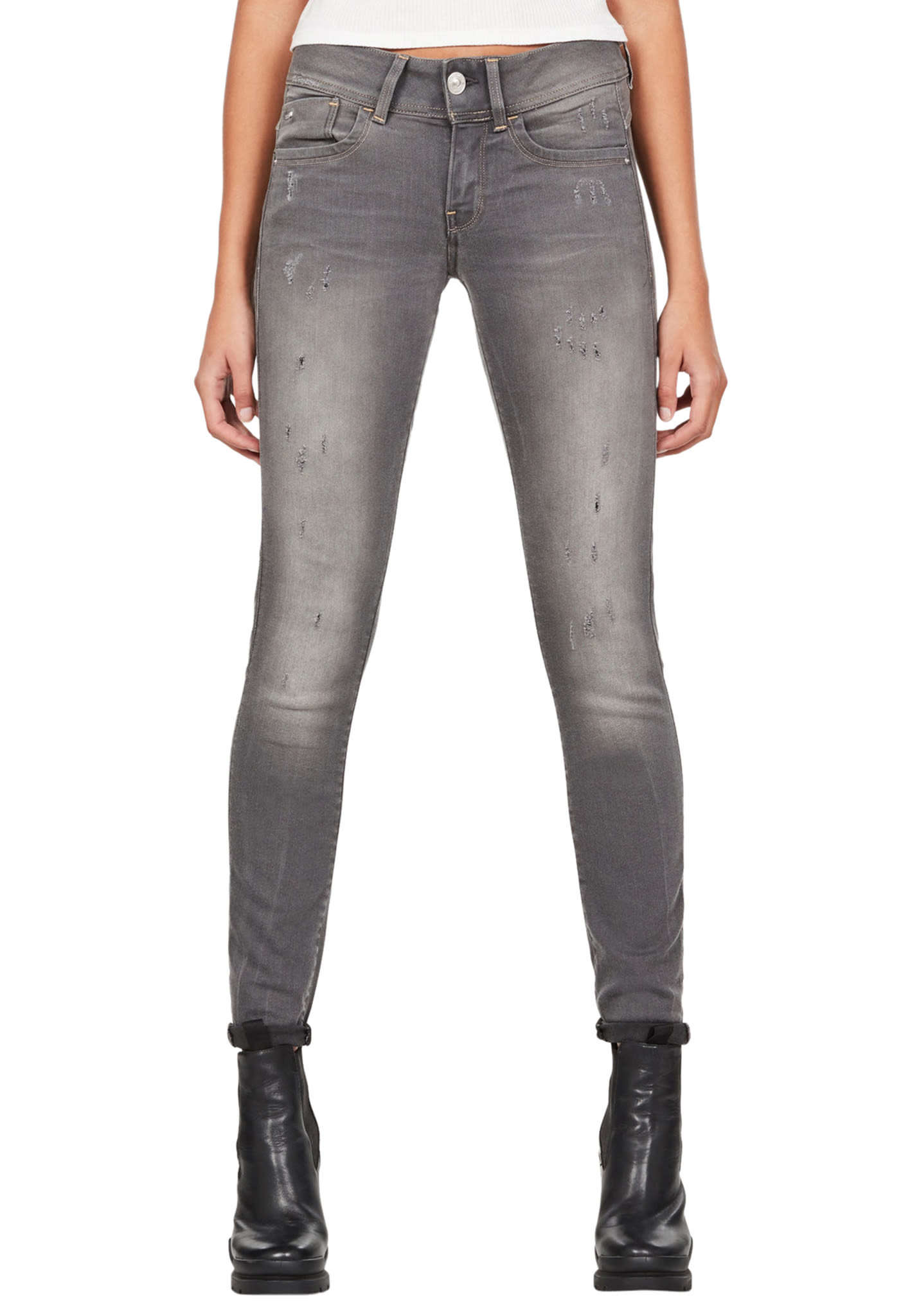 G STAR RAW Lynn Mid Skinny New Slander Grey R Superstretch Jeans für Damen Grau