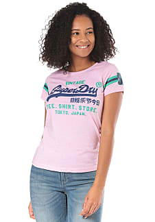 0ba83eaf3997 SUPERDRY Shirt Shop Varsity Entry - T-Shirt für Damen - Pink