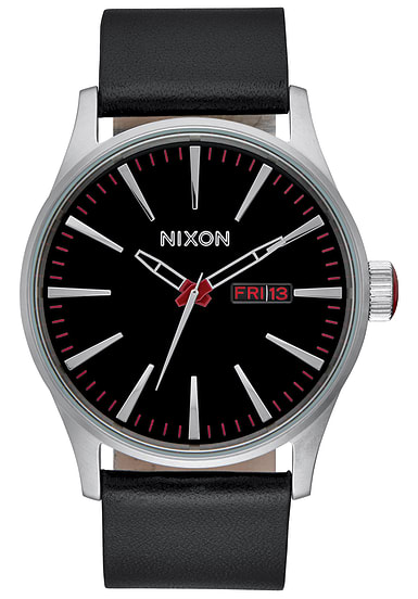 nixon sentry lthr uhr f r herren schwarz planet sports. Black Bedroom Furniture Sets. Home Design Ideas
