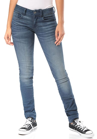 g star raw lynn mid skinny jeans f r damen blau. Black Bedroom Furniture Sets. Home Design Ideas