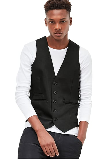 g star raw blake waistcoat weste f r herren blau. Black Bedroom Furniture Sets. Home Design Ideas
