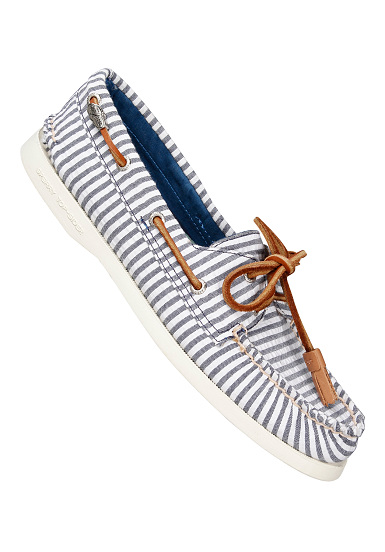 Authentic Original 2 Eye Seersucker - Fashion Shoes for Women - Blue