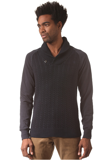 g star geored shawl collar knitted pullover for men. Black Bedroom Furniture Sets. Home Design Ideas