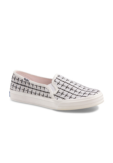 Keds Dobbel Decker Metallic Boucle Tekstil - Hvit - Slip On Kvinner gratis frakt footaction mote stil 2014 nyeste online footaction billig pris ps3eoX