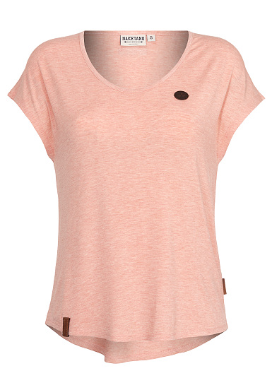 NAKETANO Falscher Smiley III - Camiseta para Mujeres - Naranja