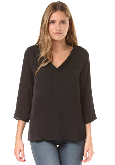 Vila Virustic Simple 3/4 Sleeve - Blusa para Mujeres - Negro