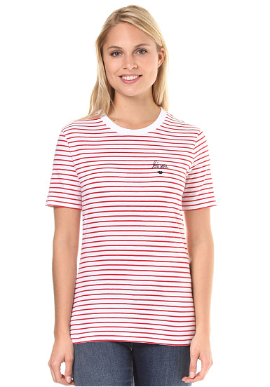 ARMEDANGELS Lida Bisou On Stripes  Camiseta para Mujeres  Rojo
