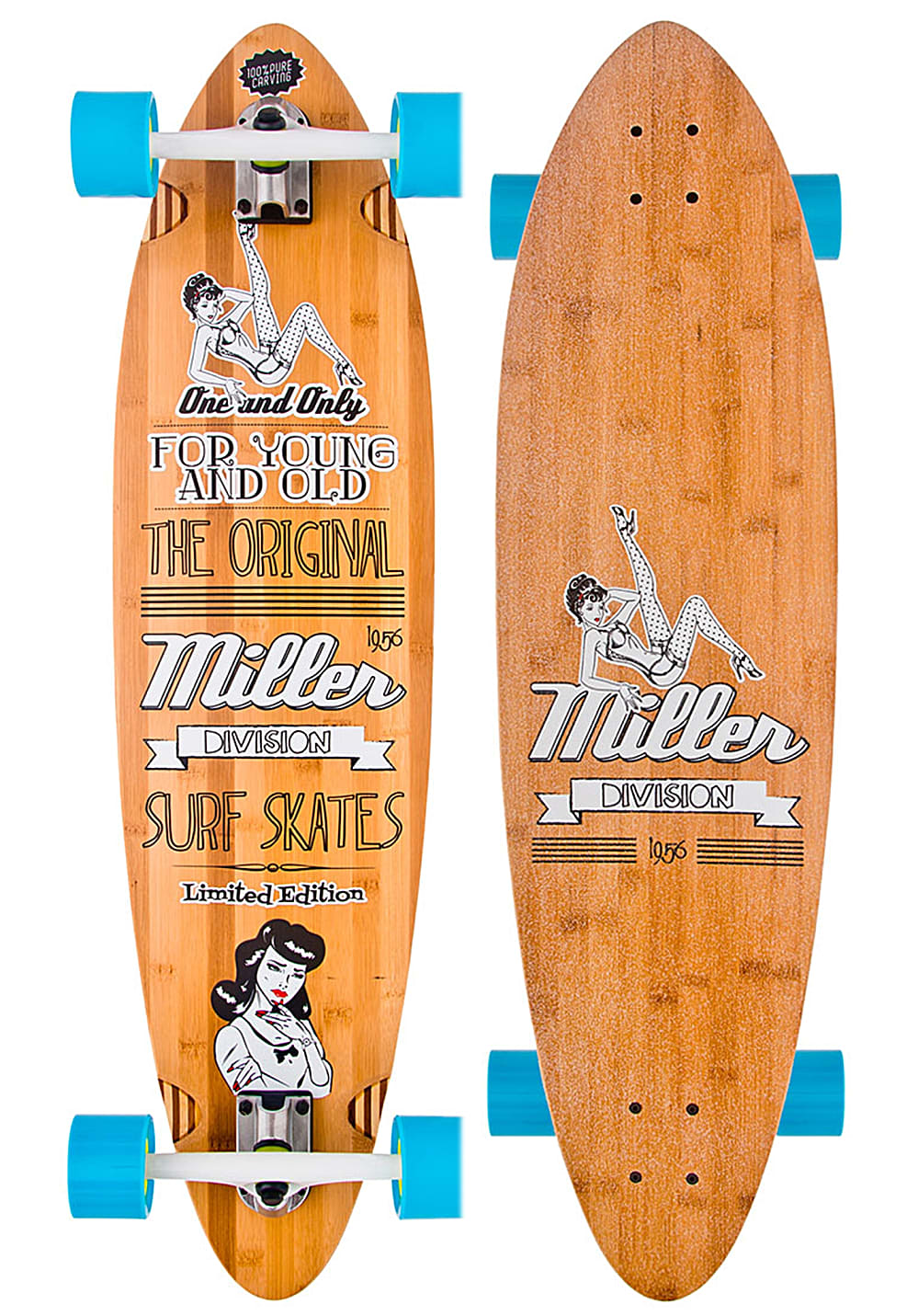 Planet Sports   MILLER Pin Up With Seismic Wheels 38″ Longboard – Beige