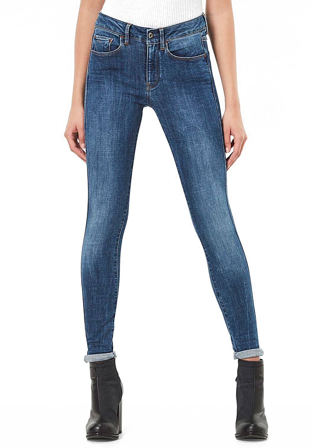 Hosen - G STAR RAW 3301 D Mid Waist Skinny Jeans für Damen Blau  - Onlineshop Planet Sports
