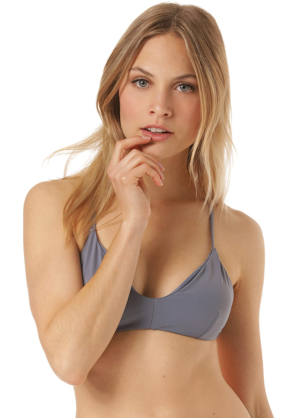 Bademode - RVCA Solid Cross Back Bikini Oberteil für Damen Blau  - Onlineshop Planet Sports