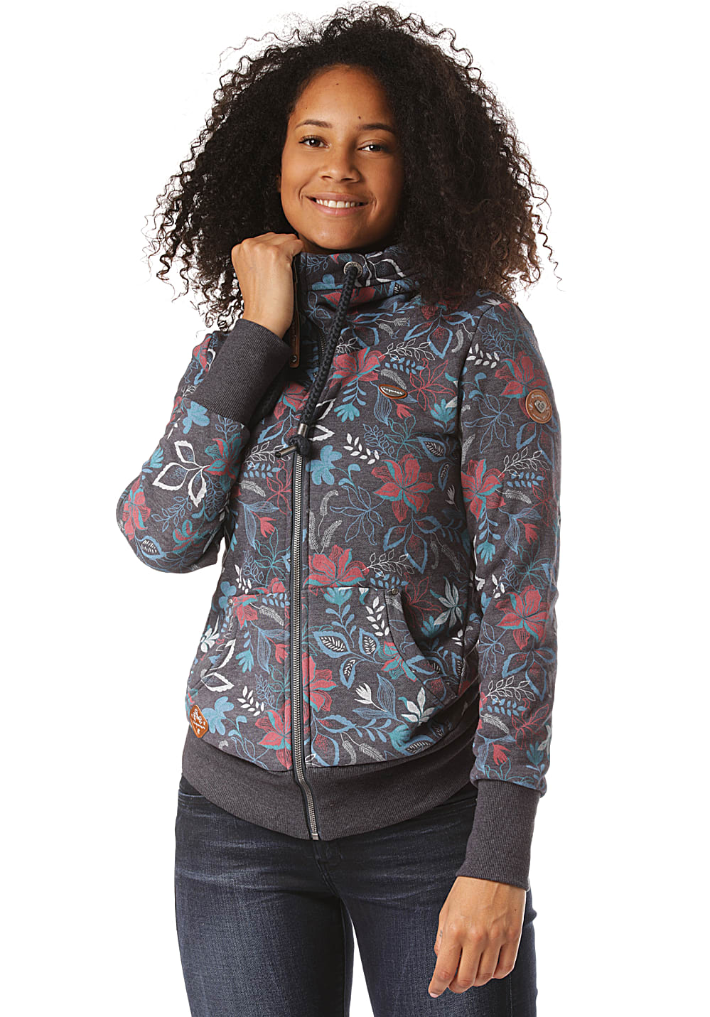 Jacken - ragwear Neska Flowers Zip Kapuzenjacke für Damen Blau  - Onlineshop Planet Sports