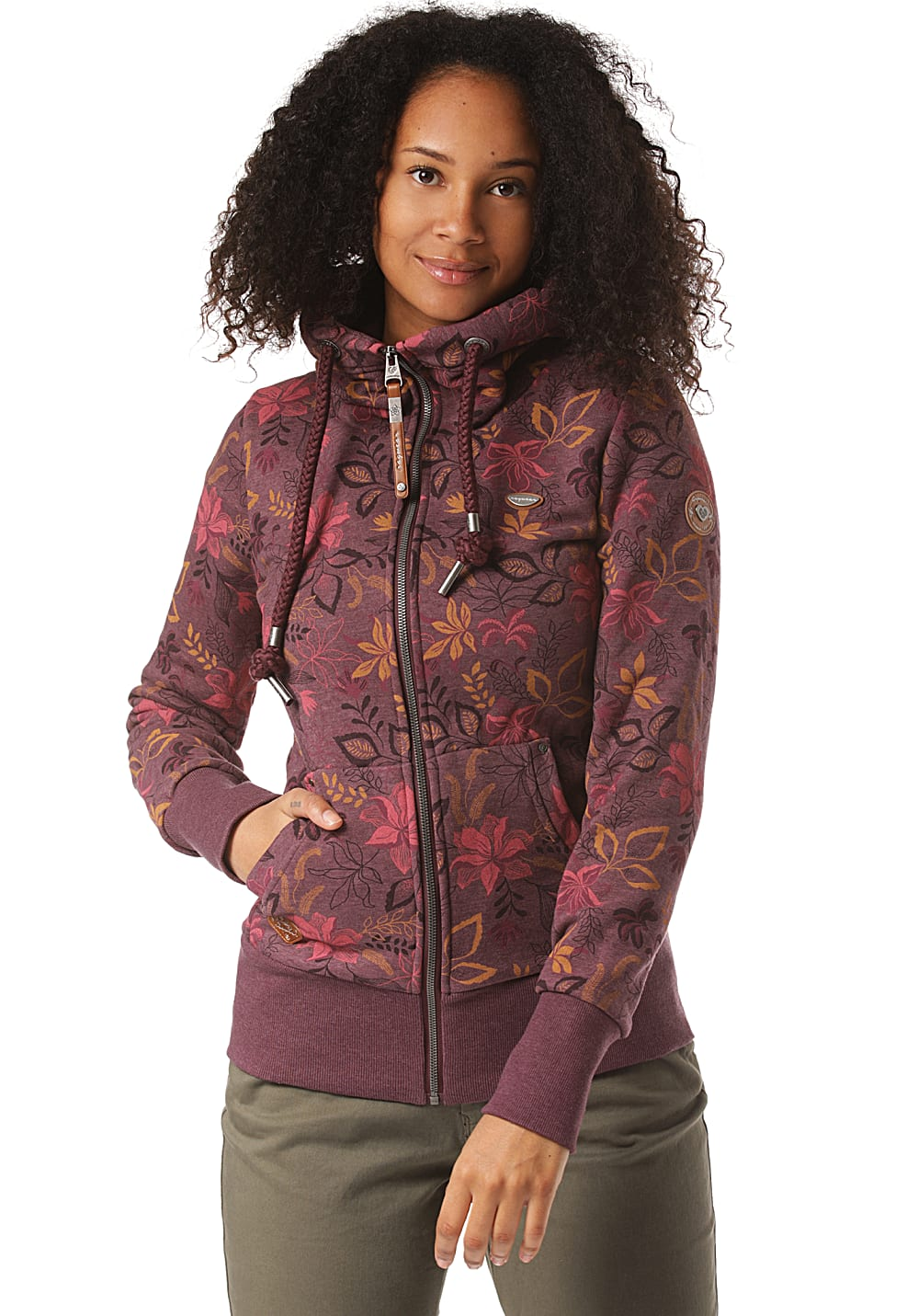 Jacken - ragwear Neska Flowers Zip Kapuzenjacke für Damen Rot  - Onlineshop Planet Sports