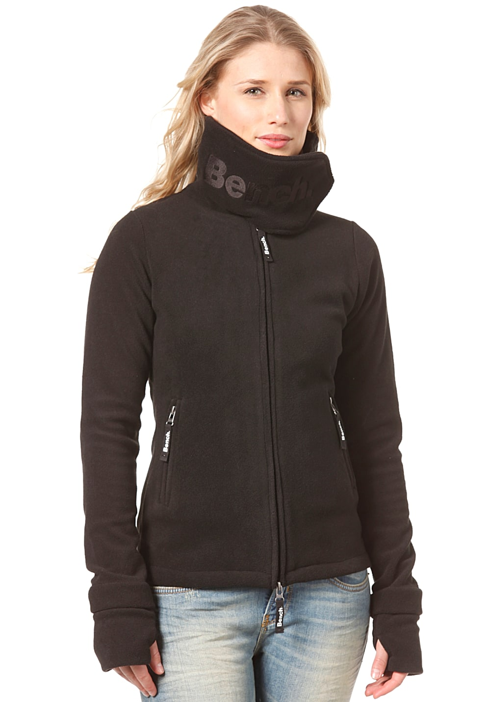 bench funnel neck fleece jacket sweatjacke f r damen schwarz planet sports. Black Bedroom Furniture Sets. Home Design Ideas