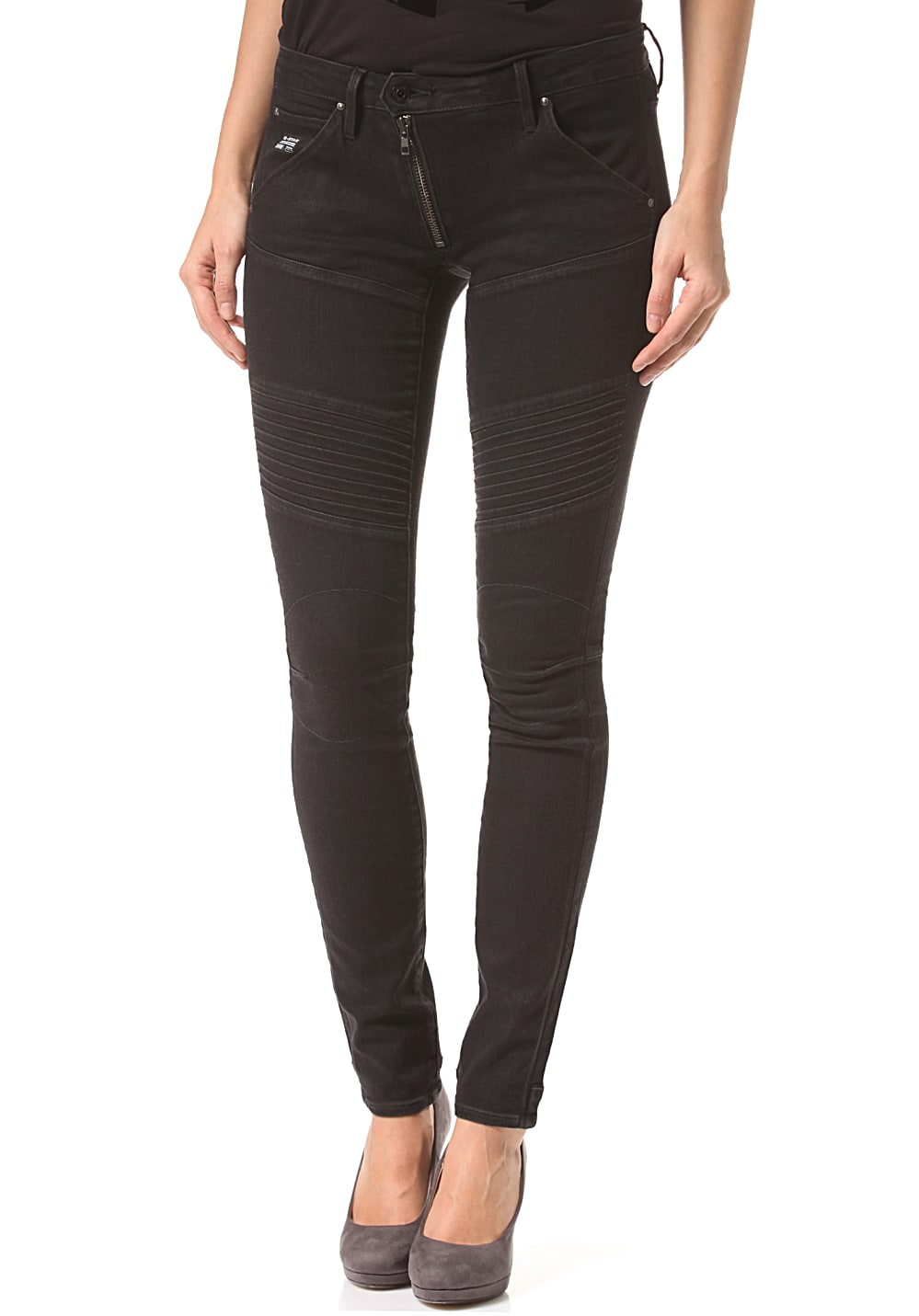 g star raw 5620 zip custom mid skinny hyto black superstretch denim p jeans f r damen. Black Bedroom Furniture Sets. Home Design Ideas
