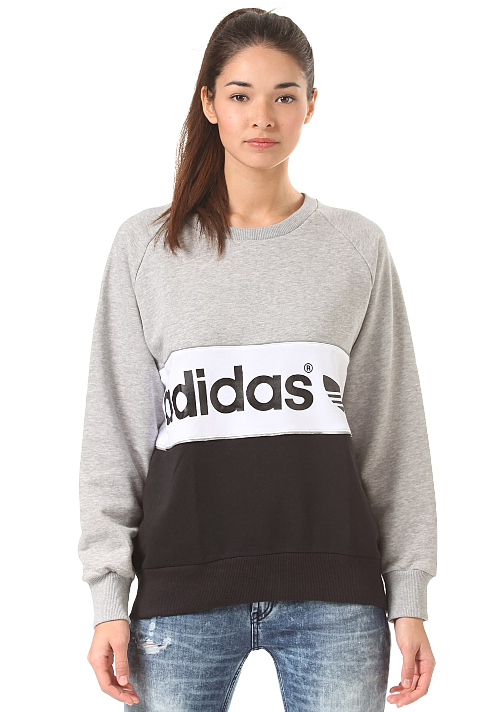 adidas city sweatshirt f r damen grau planet sports. Black Bedroom Furniture Sets. Home Design Ideas