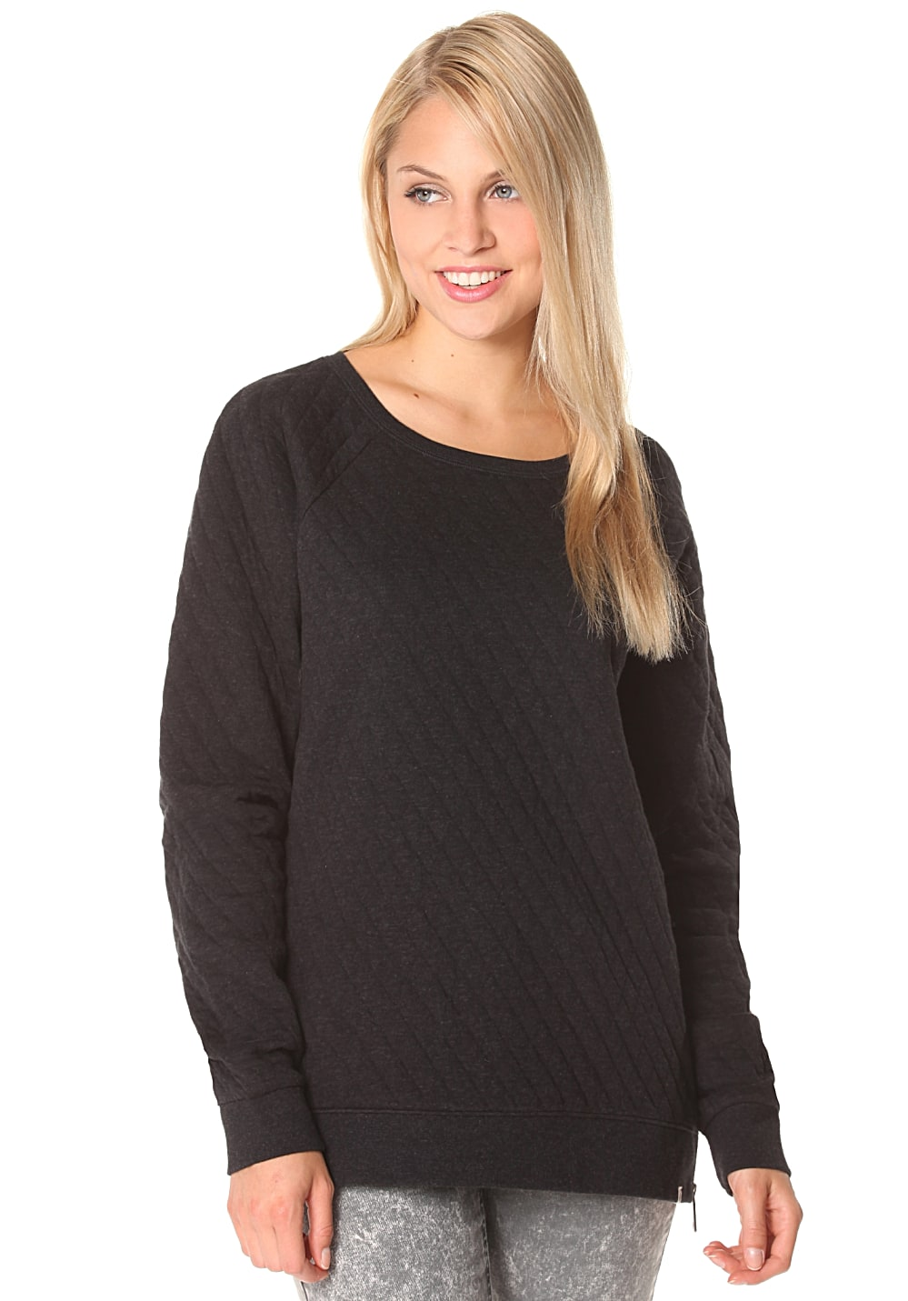 volcom earley sweatshirt f r damen schwarz planet sports. Black Bedroom Furniture Sets. Home Design Ideas