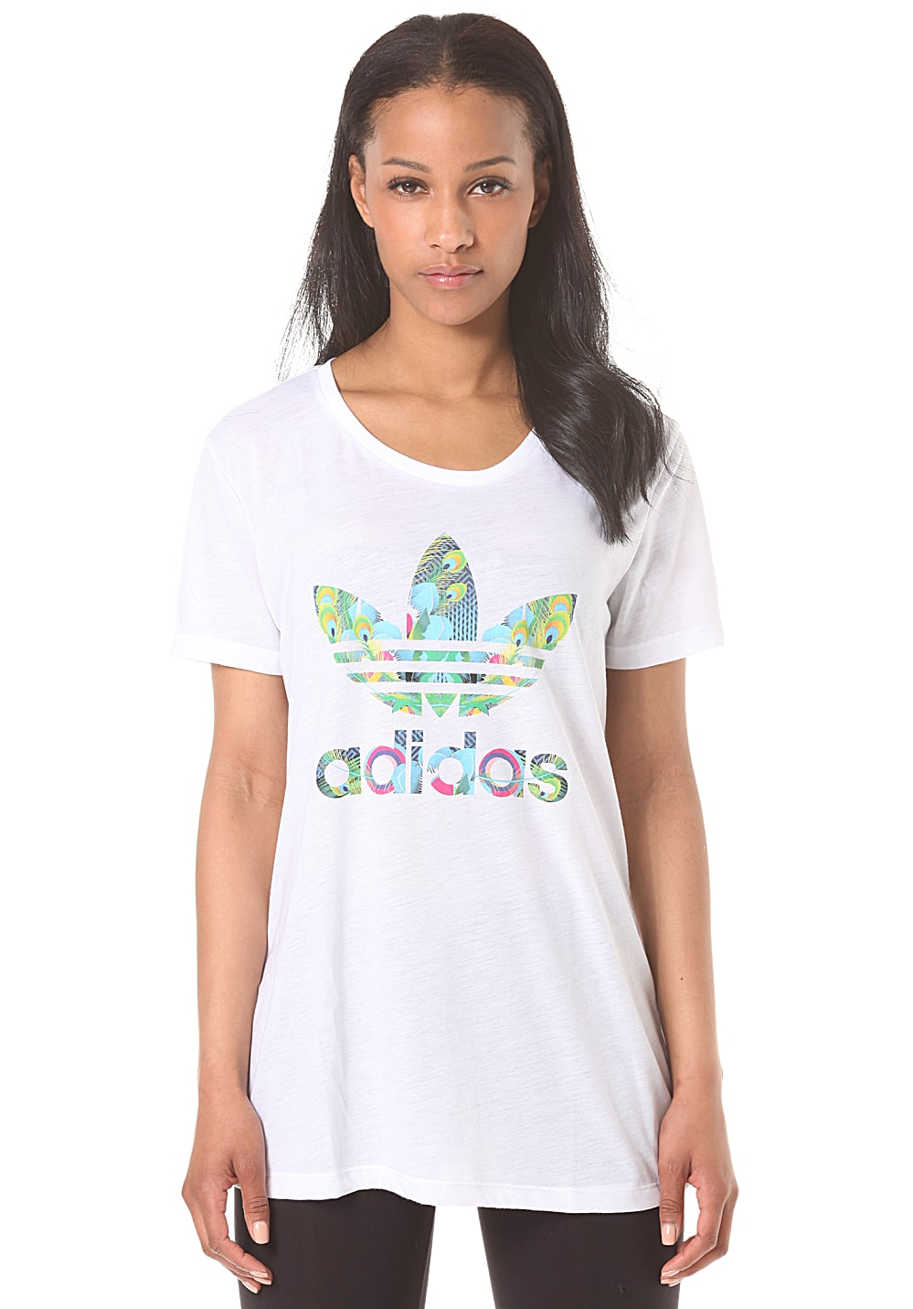 adidas bird logo t shirt f r damen wei planet sports. Black Bedroom Furniture Sets. Home Design Ideas