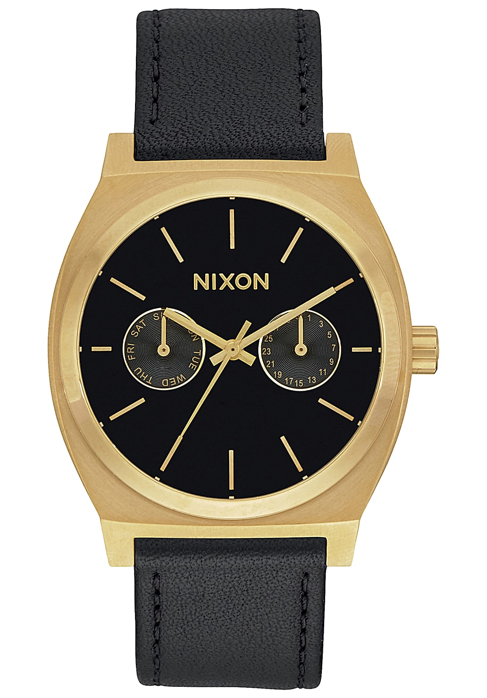 nixon time teller deluxe lthr uhr schwarz planet sports. Black Bedroom Furniture Sets. Home Design Ideas