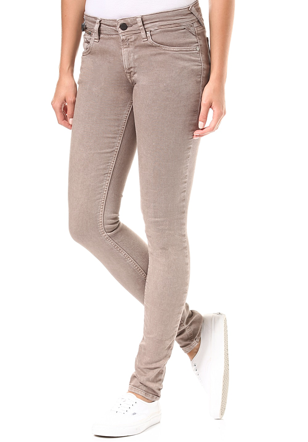 Replay Luz Coin Zip Jeans für Damen Braun Planet Sports