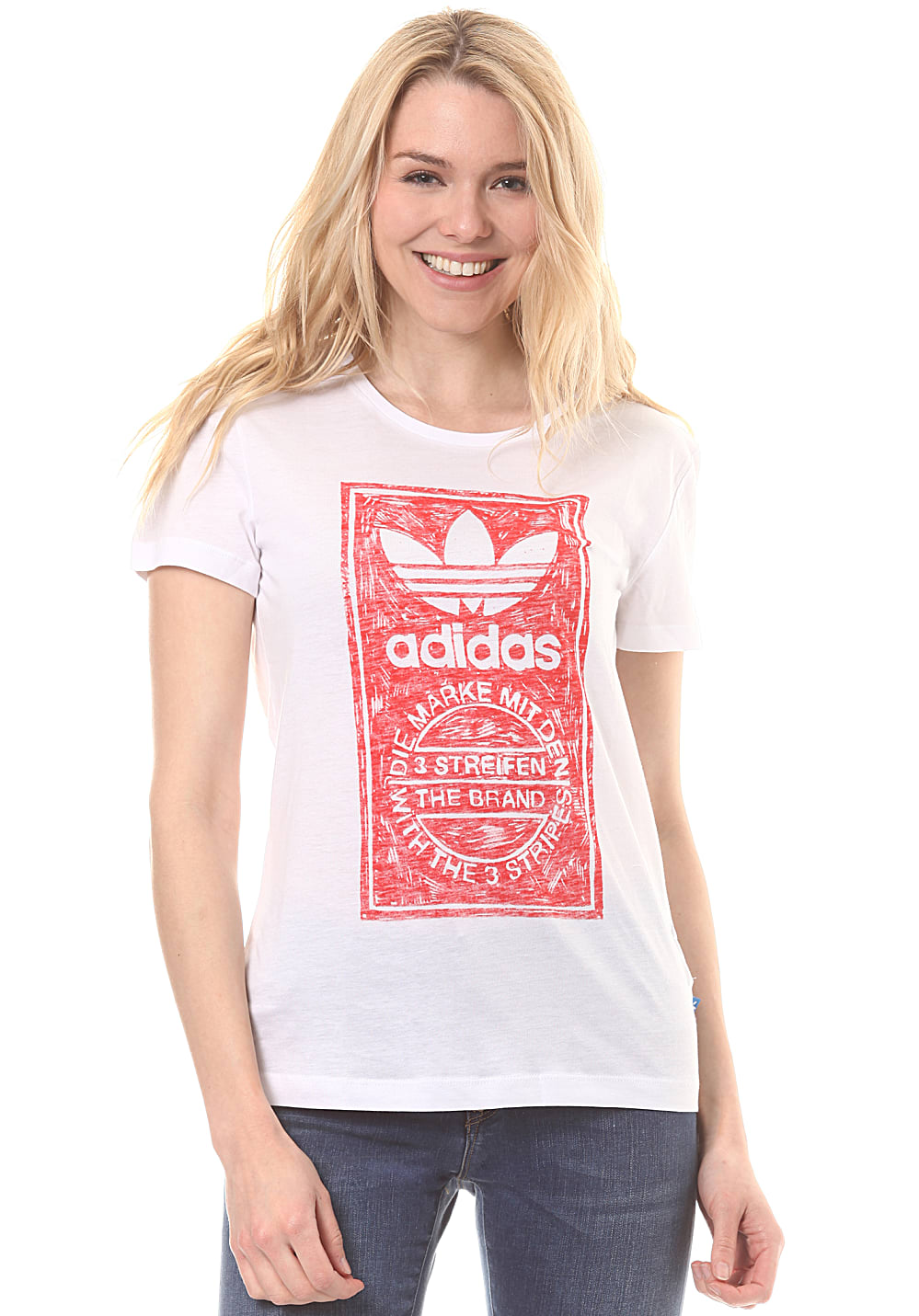 adidas tongue l t shirt f r damen wei planet sports. Black Bedroom Furniture Sets. Home Design Ideas