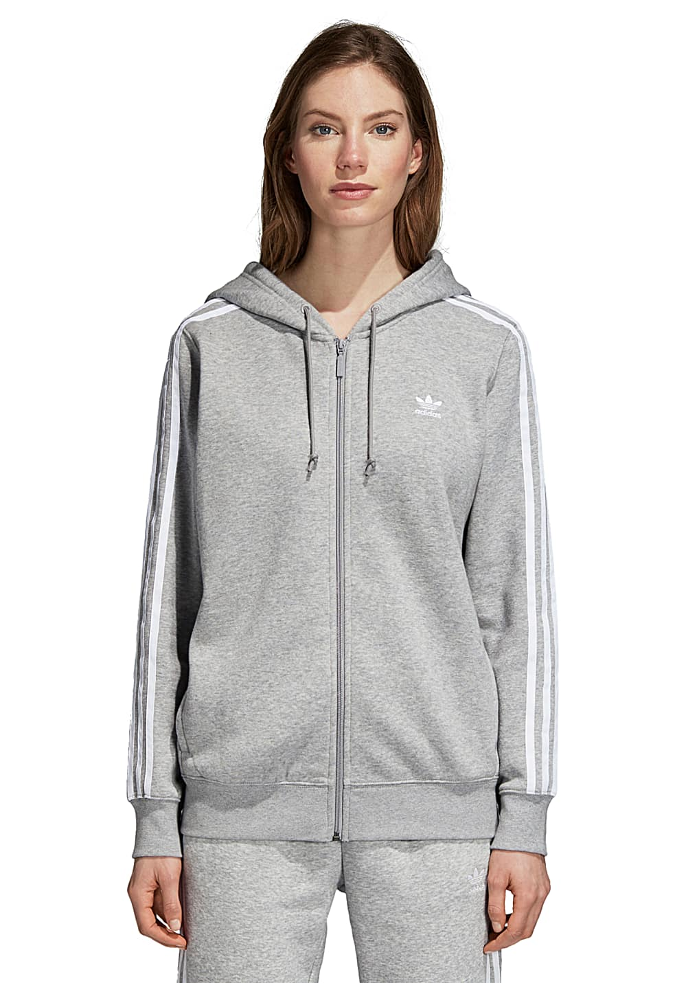 5b39c2630d adidas Originals 3 Stripes Zip - Kapuzenjacke für Damen - Grau ...