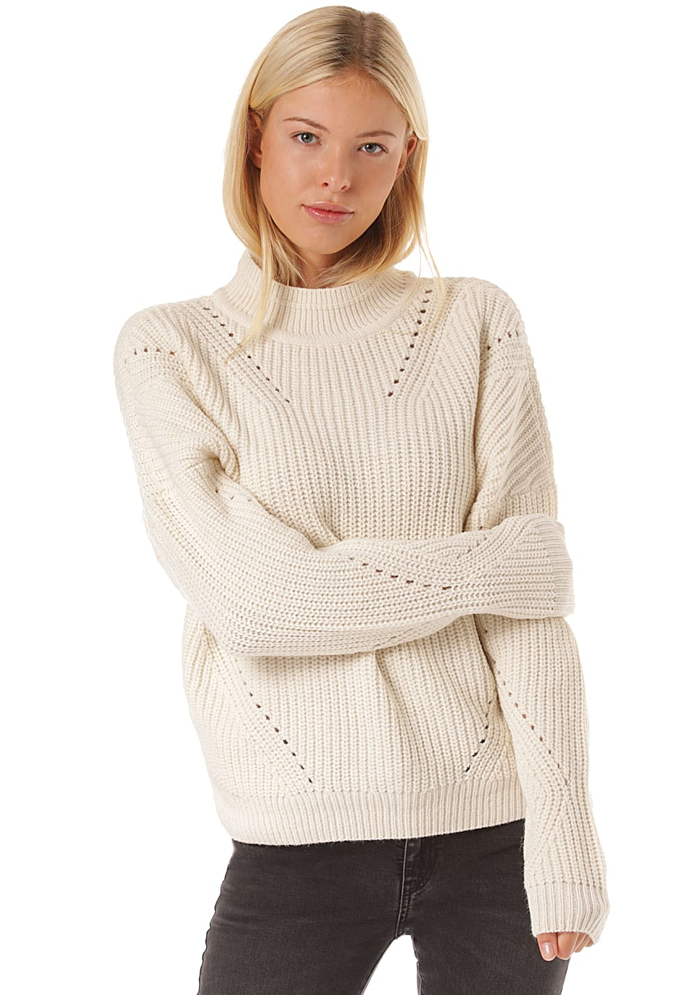 Vila Vibirth Knit Turtle Neck Strickpullover für Damen Beige